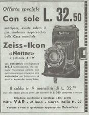 Y3379 Macchina fotografica Zeiss-Ikon Nettar - Pubblicità d'epoca - 1935 old ad