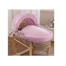 CLAIR DE LUNE PALM MOSES BASKET WITH PINK DIMPLE SOFT FABRIC NEW