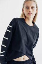 KITH Women LAUREN ASYMMETRICAL TOP Surplice Print Long Dolman Sleeve Black/Wht S