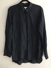 Gap Shirt Womens Size XL Navy Silk Button Down Vintage Preppy Chic 1990s Style