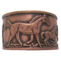 Solid Copper Ring Horse Unique Handmade Western Style Jewelry Adjustable Sz Band