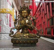 Huge Tibet  bronze gild Four armed Dragon Kwan Yin Bodhisattva Buddha Statue