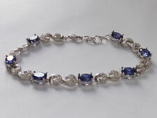 "Tanzanite Sterling Silver Fine Bangles 7.5 - 7.99"" Length"