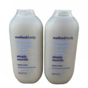 Lot of 2 Method Body Coconut Rice Milk Simply Nourish Body Wash 18 fl oz