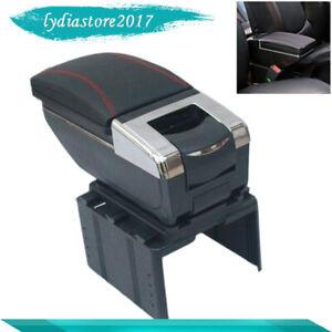 Car Central Container Armrest Box PU Leather Center Storage Case Black Practical