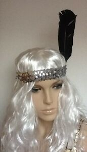 SILVER SEQUIN HEADBAND &  LARGE BLACK FEATHER FANCY DRESS ITEM. HEN NIGHT/PARTY
