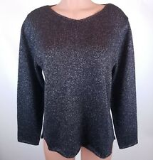 Habitat Clothes to Live In Size L Black Silver Metallic Pullover Sweater