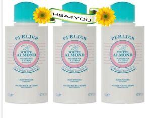 3 Perlier WHITE ALMOND BODY Powder 3.5 oz Each (634)