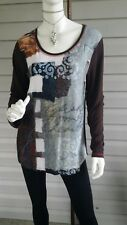 SIMPLY ART BY DOLCEZZA Art Printed Top Long Sleeve Henley Stretchy Large NWT$99