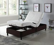 Platform Bed Frame Electric Adjustable Head Lift Remote Control Full Size Brown