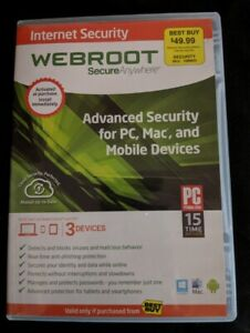 Webroot Secure Anywhere Internet Security - Full Version for Windows & Mac...