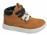 Timberland Groveton Side Zip Lace Up Wheat Leather Toddler Boots 6084B U100