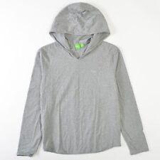 Hugo Boss Green Athletic Hoodie Shirt Cotton Heather Gray Mens Medium M