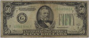 1934 Fifty Dollar Federal Reserve Note Chicago $50 - Circulated Original -