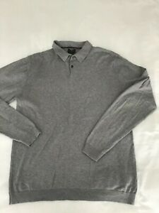 Next Grey Long Sleeved Fine Knit Polo Shirt Jumper - Large