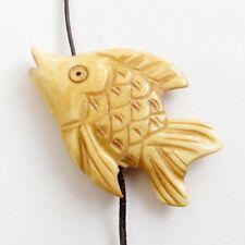 Tibet Bone Fish Pendant Bead Happy Lucky Jewelry Bead Double Faces