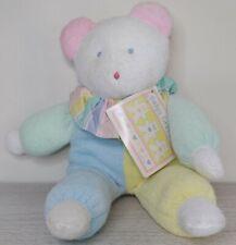 "Vintage Eden Pastel Bear 12"" Terrycloth Plush Blue Yellow Green White First Bear"