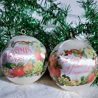 Silk Friendship Christmas Ornament Vintage 80s 1981 Fruit Flowers Round Lot of 2