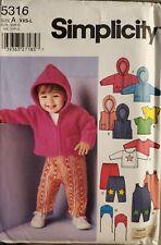 Simplicity Karen Z pattern 5316 Babies Overall, Jacket, Pants Top sz XXS-L uncut