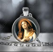 St. Mary Magdalene Necklace Catholic Patron Saint of Women Medal Pendant Round