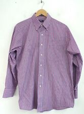 IZOD Mens Red Blue & White Striped Button Down Dress Shirt Size Large 16 32/33