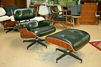 Eames Lounge Chair & Ottoman REAL Black Leather MCM Midcentury Style Rosewood