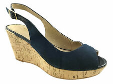 LADIES NEXT FAUX SUEDE LEATHER LINED COMFORT PEEP TOE WEDGE SANDALS NAVY UK 3-9