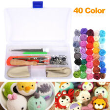 40 Colour Wool Felt Needles Tool Set + Needle Felting Mat Starter DIY Kit Gift