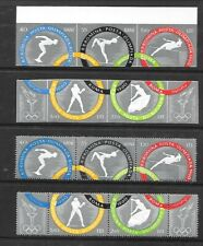 ROMANIA Sc 1326-30 NH issue of 1960 - PERF & IMPERF STRIPS - OLYMPICS