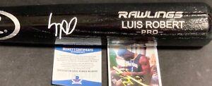 Luis Robert Chicago White Sox Signed Engraved Black Bat BECKETT WITNESS COA