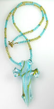 Long Turquiose & Yellow Crystal Necklace with Turquoise Lampwork Cross