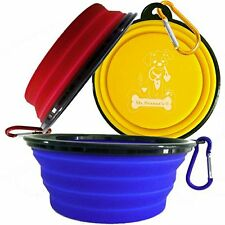 Mr. Peanut's Collapsible Dog Bowls, Set of 3 with Matching Carabiner Clips