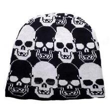 Skull Print Knit Beanie Cap Winter Ski Snow Board Sport Toque Tuque Unisex Women