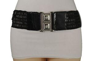 Women Black Elastic Beads Waistband Fashion Belt Hip Waist Silver Buckle S M L
