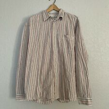 Wrangler Dress Shirt 3xl Long Sleeve Button Down Orange Striped Cowboy Western
