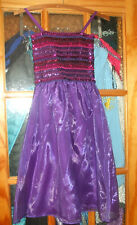Fancy Shiny Jeweled Girls Party Princess  Dress - Purple - Used Good - 7-8 Years