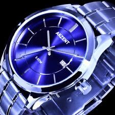 Akzent Herren Armband Uhr Blau Silber Farben Datum Edelstahlarmband EX-8