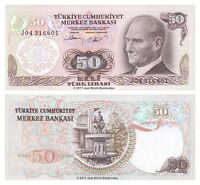 Turkey 50 Lira 1970 (1976) P-188 Banknotes aUNC