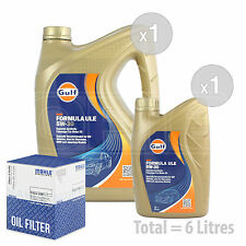 Engine Oil and Filter Service Kit 6 LITRES Gulf Formula ULE 5w-30 6L