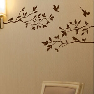 (mattebrown) - Innovative Stencils Tree Branches with Birds Wall Decal
