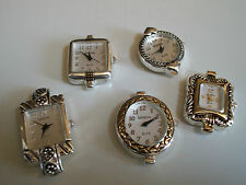 SET OF 5 SILVER & SILVER/GOLD WATCH FACES FOR BEADING OR OTHER USE