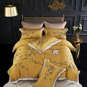 Chinese Style Flower Bird Embroidery Egyptian Cotton Gray Duvet Cover Sheet New