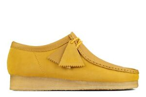 NEW MENS CLARKS ORIGINALS WALLABEE LIMITED EDITION YELLOW COMBI SUEDE LOW SHOES