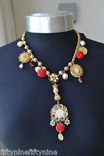 £ 1300 DOLCE & GABBANA GOLD PLATED swarovoski Cristallo Collana NUOVO AUTENTICO