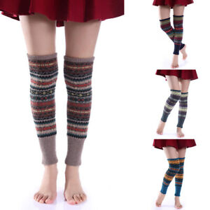 Knit Boot Warmer Socks Winter Leggings Fair Isle Knee High Leg Warmers Crochet