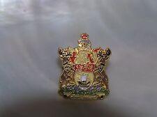 Estate Colorful Enamel Goldtone Shield Crest w Sailing Ship & Spem Reduxit Tie