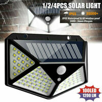 2x Lampe Solaire à 100 LED Détecteur de Mouvement Spots Éclairage Mural Jardin
