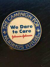 Collectible Vintage Johnson & Johnson Nursing We Dare Metal Pinback Hat Pin