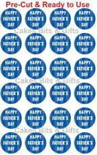 24x HAPPY FATHER'S DAY Edible Wafer Cupcake Toppers PreCut Ready to Use Design 4