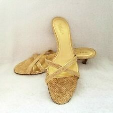 0950862a0d3 NWOB Unisa Kitten Heel Gold Beige Snake Strappy Mule Slide Sandals Size 91 2  AA